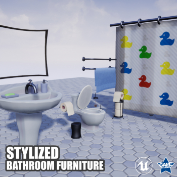 Stylized Bathroom Furniture Pack for UE4