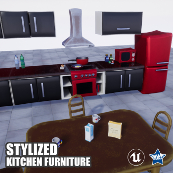 Stylized Kitchen Furniture Pack for UE4