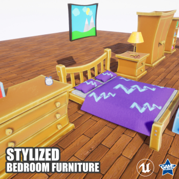 Stylized Bedroom Furniture Pack for UE4